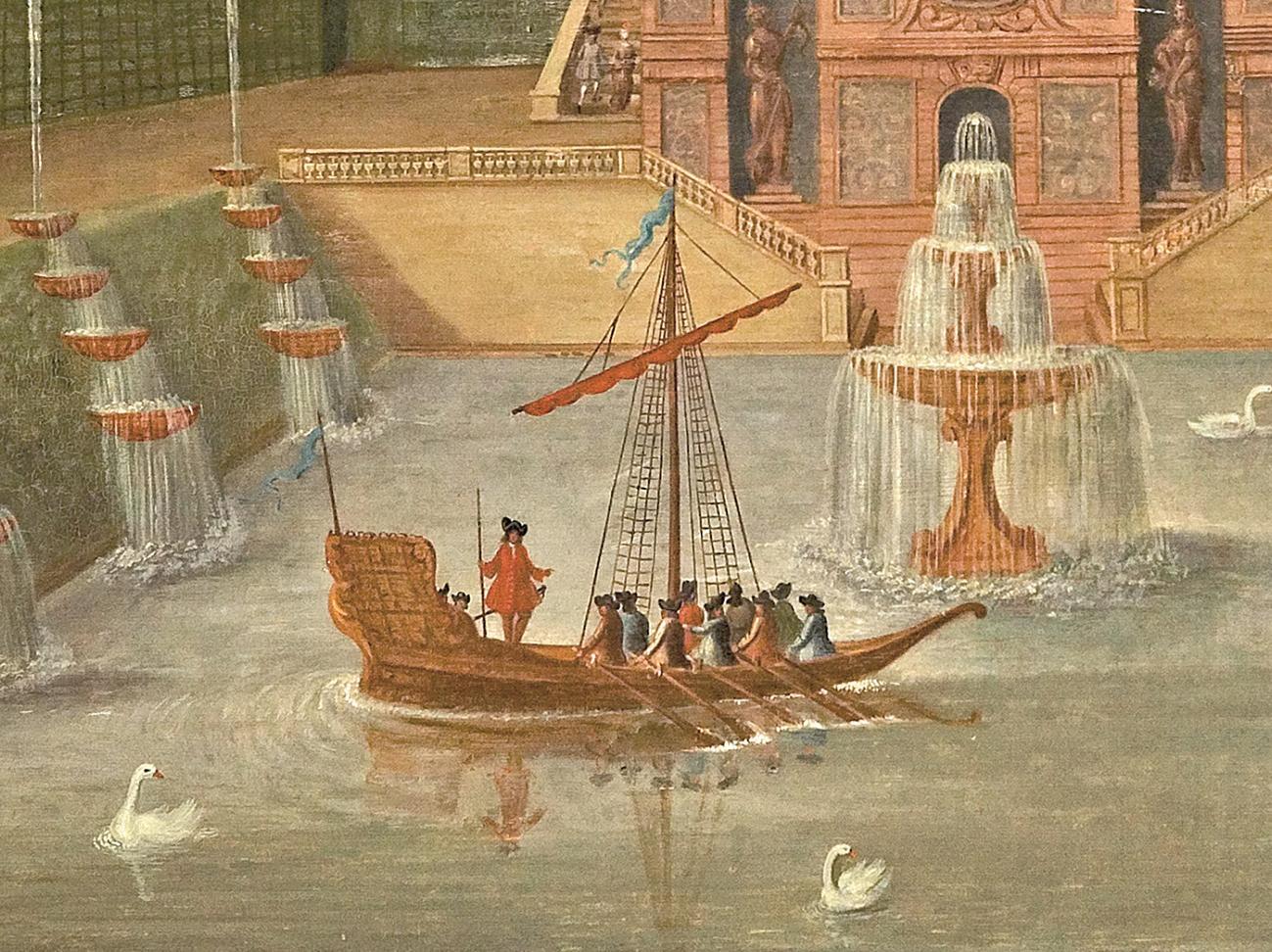 Bassin mit Wasserkunst, Lambrisbild, um 1710, nach französischer Stichvorlage, im Rittersaal von Schloss Weikersheim (c) Schlösser und Gärten Baden-Württemberg, Foto: Arnim Weischer