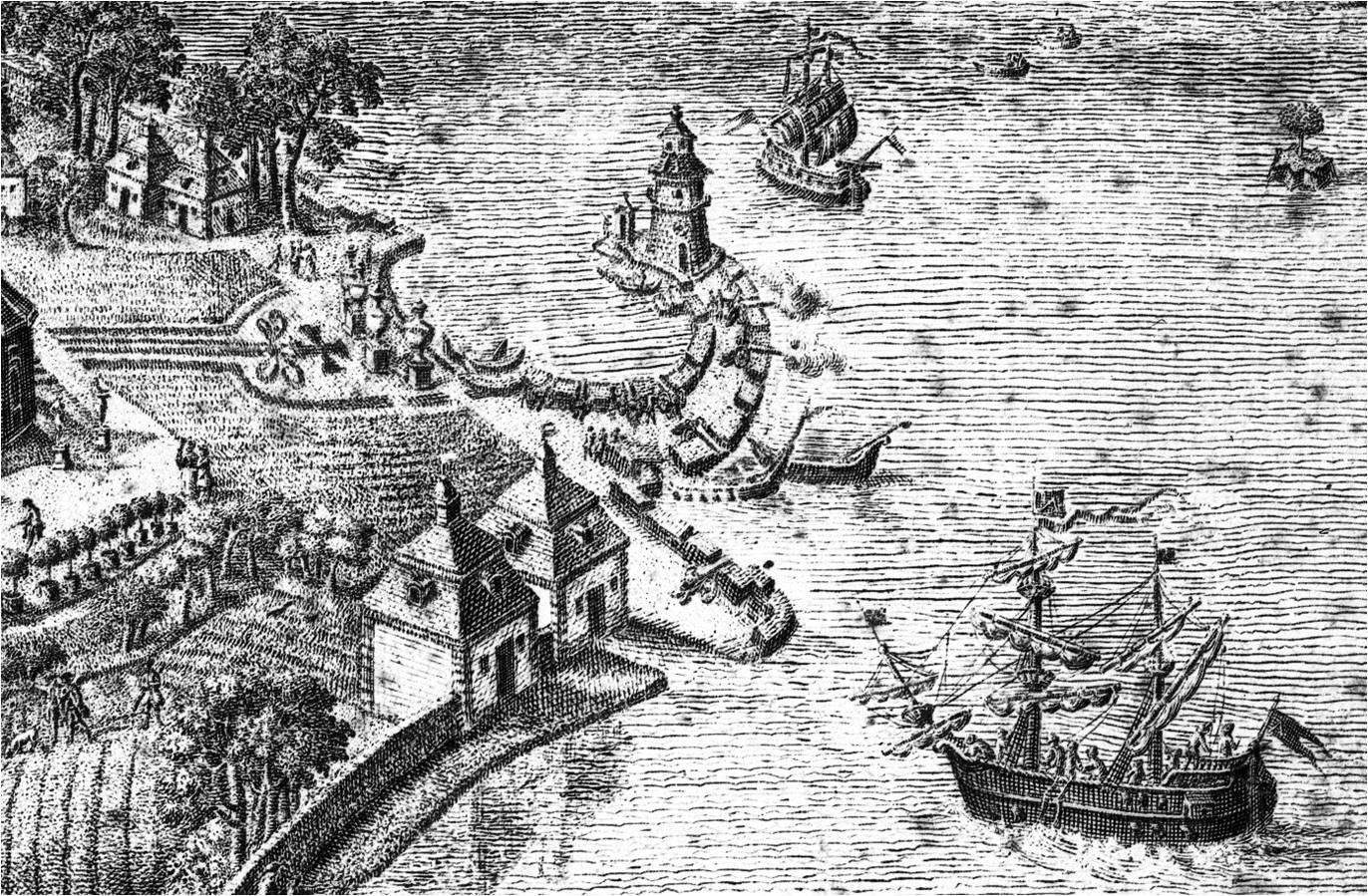 """Leuchtturm und Mole mit Kanonen, Ausschnitt aus dem Kupferstich """"Die Fasanerie zu Moritzburg"""" von J.C. Malcke um 1776 (c) Schlösserland Sachsen"""
