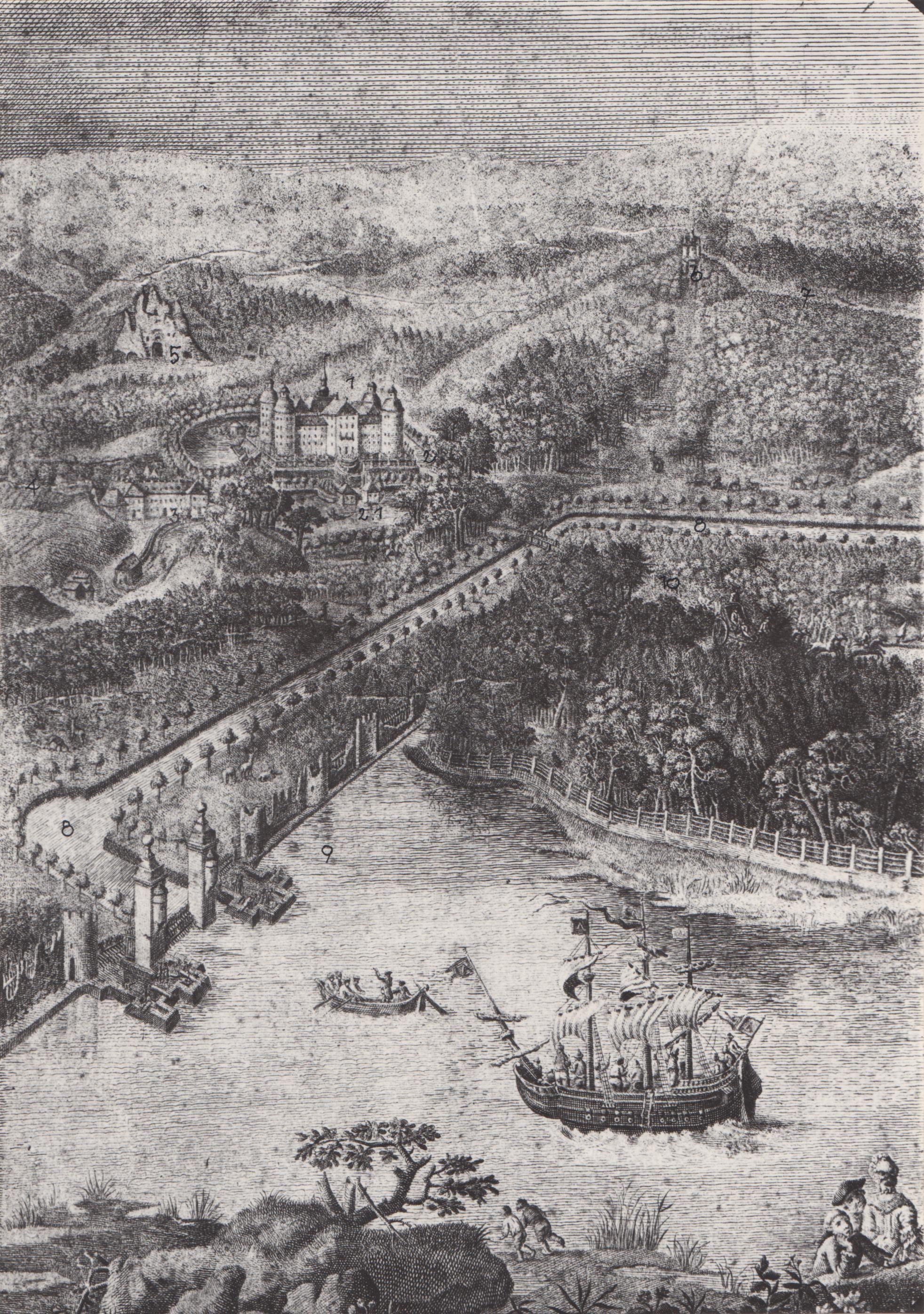 """Dardanellen und Kriegsschiff in Moritzburg, Ausschnitt aus dem Kupferstich """"Die Fasanerie zu Moritzburg"""" von J.C. Malcke um 1776 (c) Schlösserland Sachsen"""
