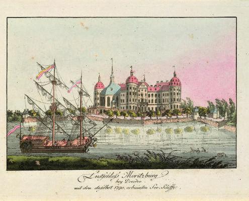 Das neue erbaute Seeschiff in Moritzburg von 1790, Kupferstich eines unbekannten Künstlers (c) Schlösserland Sachsen und Stadtmuseum Meißen