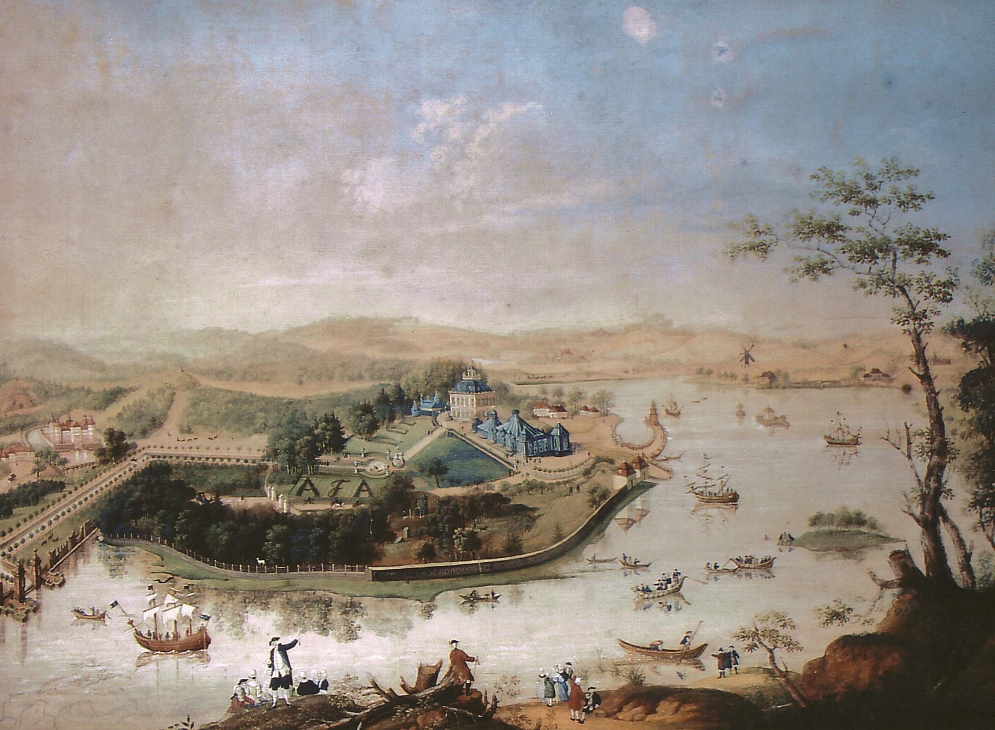 Flottenfest in Moritzburg, Aquarell von J.F. Nagel (c) Stadtmuseum Meissen und Schlösserland Sachsen