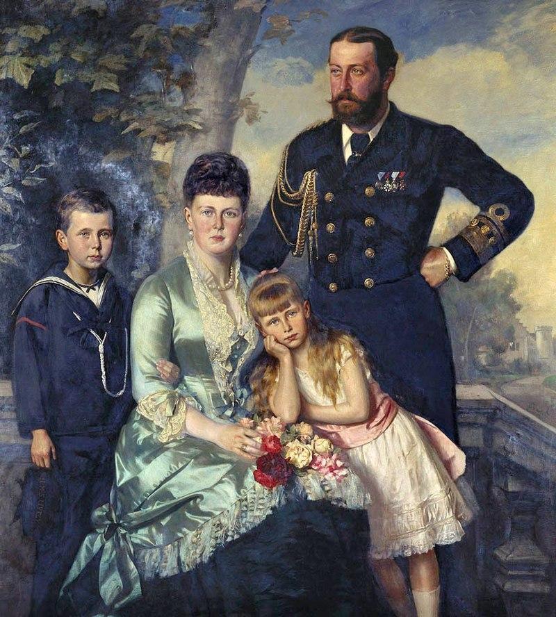 Alfred, Herzog von Edinburgh mit seiner Frau, seinem Sohn Alfred und seiner Tochter, Maler: Carl Rudolph Sohn, 1884