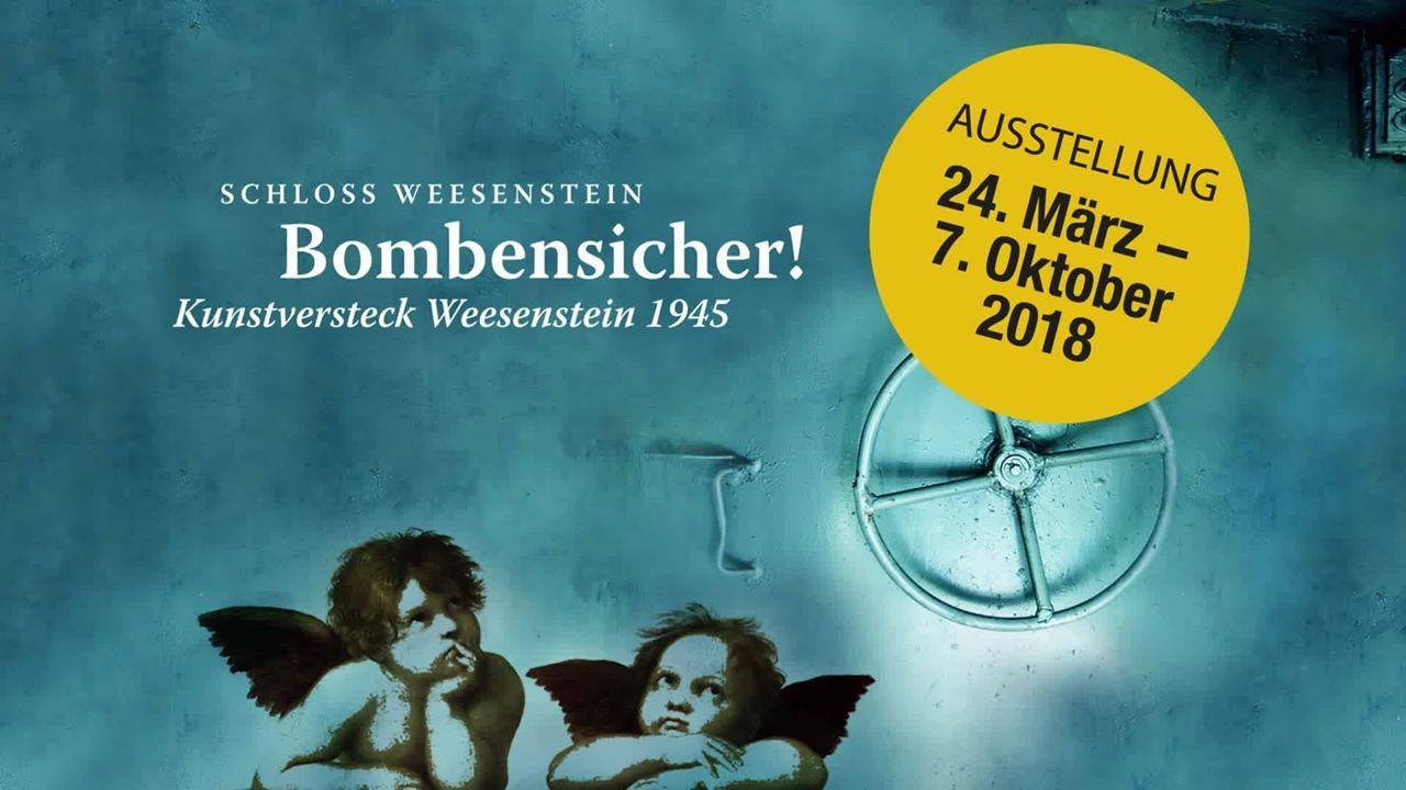 """Ausstellungsfoto zu """"Bombensicher! Kunstversteck Weesenstein 1945"""" im sächsischen Schloss Weesenstein (c) Schlösserland Sachsen"""