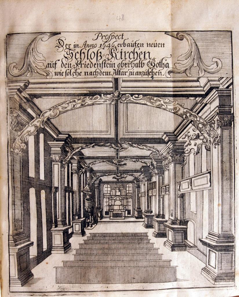Kupferstich der Schlosskirche aus F. Rudolphi, Gotha Diplomatica, 1717 (c) SSFG