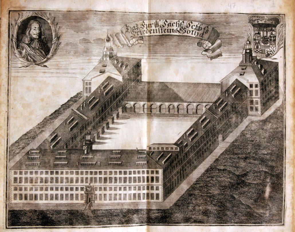 Kupferstich von Schloss Friedenstein aus F. Rudolphi, Gotha Diplomatica, 1717, (c) SSFG