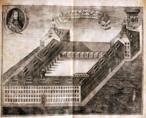 Kupferstich von Schloss Friedenstein aus F. Rudolphi, Gotha Diplomatica, 1717, (c) SSFG
