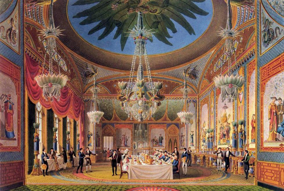 Sercvice à la russe im Banqueting Room des Royal Pavilion in Brighton, nach einer Skizze des Architekten John Nash,1826. Quelle: Wikipedia