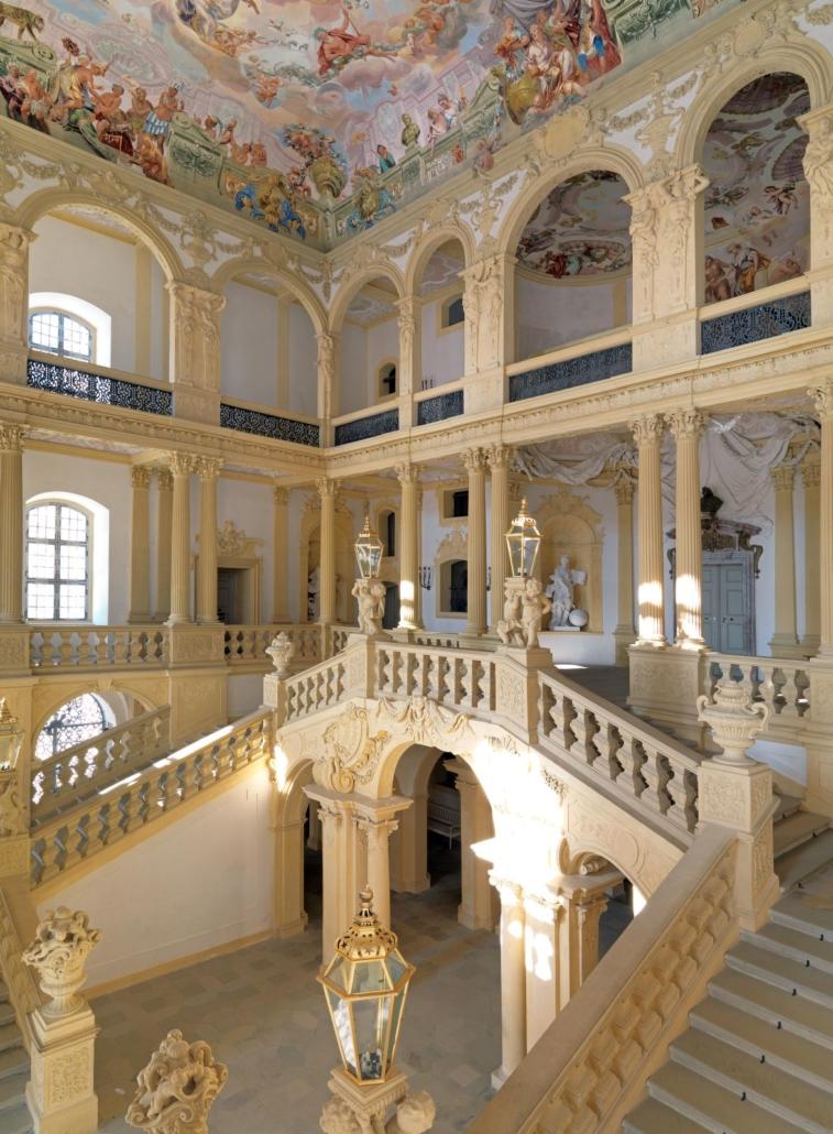 Das berühmte Treppenhaus von Schloss Weissenstein, Pommersfelden (c) Graf von Schönborn, Wiesentheid