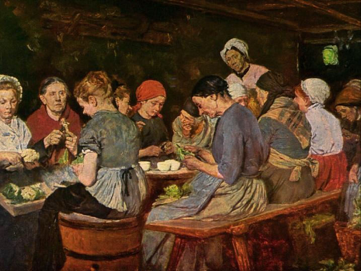 Max Liebermann: Konservenmacherinnen, 1879. Quelle: WIkipedia