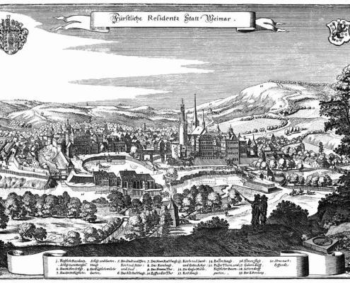 Weimar im Jahr 1650, Stich von Matthias Merian d.Ä.