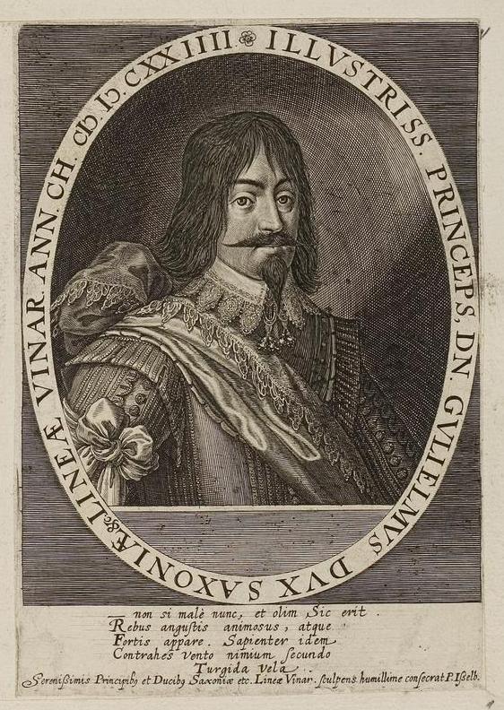 Herzog Wilhelm von Sachsen-Weimar. Grafik aus dem Klebeband Nr. 1 der Fürstlich Waldeckschen Hofbibliothek Arolsen