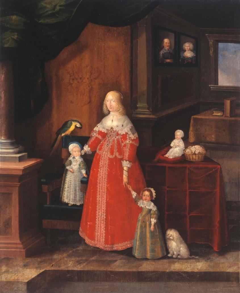 Eleonore Dorothea Prinzessin von Anhalt-Dessau und ihre Söhne, 1639. Maler: Christian Richter