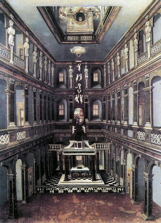 Die ab 1619 errichtete Schlosskapelle mit der Orgel über dem Altar. Ölgemälde von Christian Richter, um 1660)