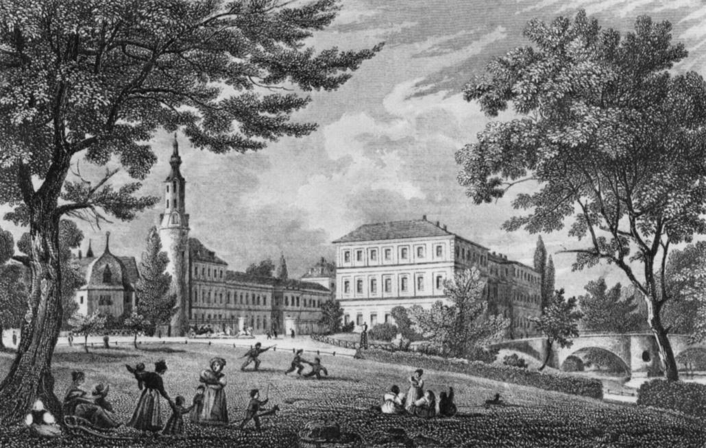 Residenzschloss Weimar von Südost aus, um 1845. Künstler: J. W. Appleton