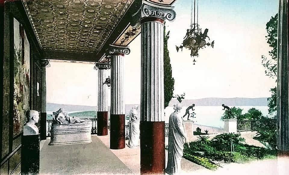 Terrasse des Achilleions zur Zeit Kaiser Wilhelms II.