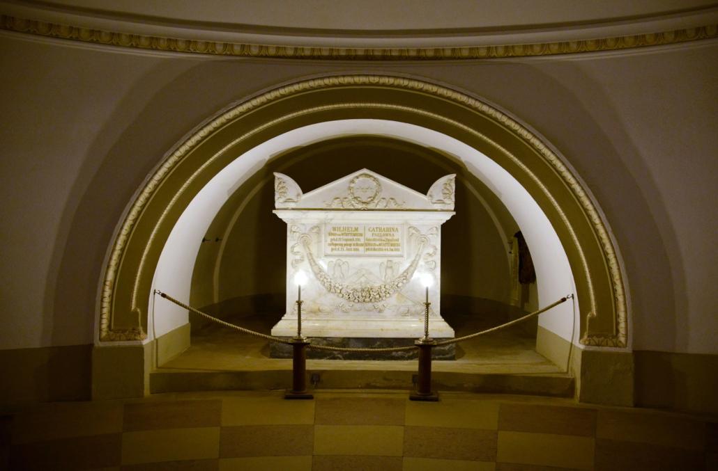 Doppelsarg von Königin Katherina und König Friedrich I. in der Grabkapelle auf dem Württemberg